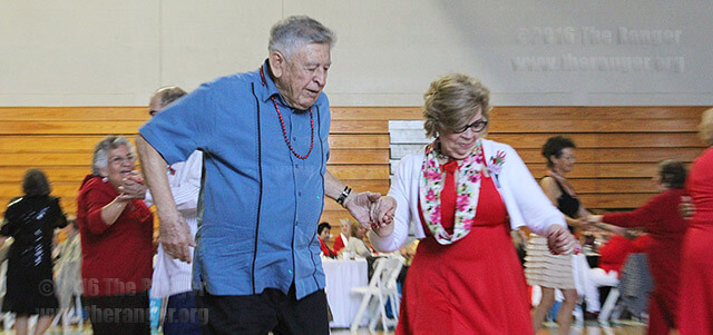 Rudy Gutierrez, 83, and Felisa Valdez, 85, share a dance at the Senior Sweetheart Dance Feb. 12 in the gym at Palo Alto.  Photo by Raffy Gubser