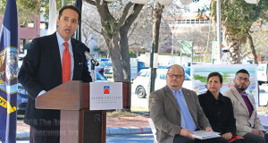 State Sen. José Menéndez (D-San Antonio) delivers the keynote speech at the Victory Center groundbreaking ceremony at this college Feb. 24. Menéndez was able to secure $7.6 million from the Texas Legislature to build an advocacy center geared to helping veterans after they come home from war. Menéndez thanked everyone who helped make his dream of helping veterans into a reality.  Photo by Melissa Luna