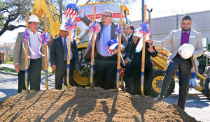District 1 trustee Joe Alderete Jr., District 5 trustee Roberto Zarate, President Robert Vela, State Sen. José Menéndez (D-San Antonio), Lisa Alcorta, interim vice president of student success, and Victor Hernandez, Student Veterans Association president, all prepare to break ground for the Victory Center at this college Wednesday. Menéndez was the keynote speaker for the ceremony, and Hernandez was the student guest speaker. Photo by Melissa Luna