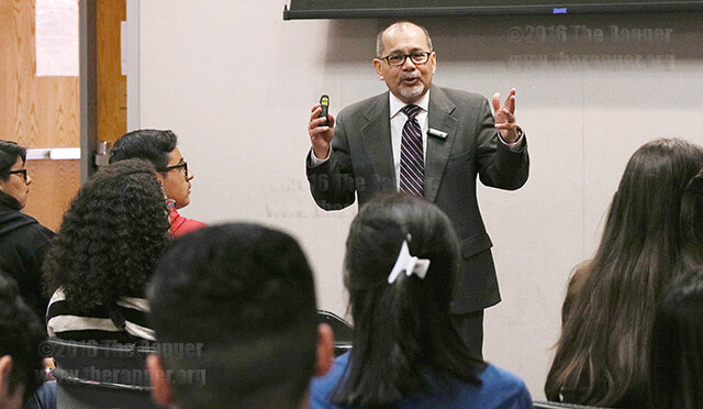 Dr. Gerardo Moreno, candidate for vice president for student success, answers a question from a Travis Early College High School student Feb. 4 in Room 120 of visual arts. Students asked about topics ranging from college dining to the success rate of students enrolled in the Islander Advocacy Program. Moreno implemented the program for upperclassmen to mentor incoming freshmen at Texas A&M-Corpus Christi.  Photo by Brandon A. Edwards