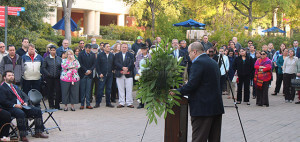 Members of this college's community remember the life of David Mrizek. President Robert Vela said people like Mrizek make this college a special place.  Photo by Kyle R. Cotton