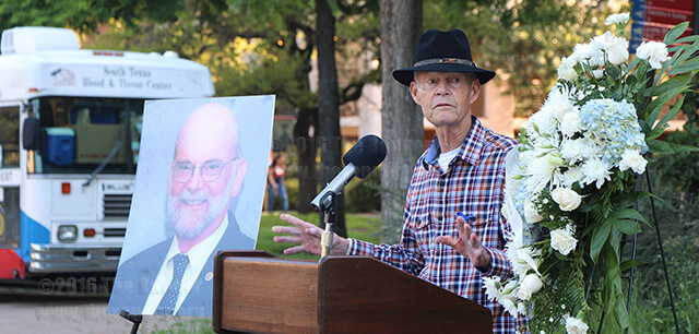 "Former President Robert Zeigler in a remembrance speech in the mall Tuesday says David Mrizek, vice president of college services, will live on through this college. ""His spirit will live on throughout all the buildings he helped establish and the people who cared for him,"" Zeigler said. Both Zeigler and President Robert Vela noted how appropriate it was that the South Texas Blood and Tissue Center was on campus collecting donations as they helped save Mrizek's life nine years ago after his first bout with mantle cell lymphoma. Mrizek died at 7:15 p.m. March 20. He had been fighting the disease on and off for more than a decade.  Photo by Kyle R. Cotton"