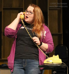 Sophomore theater major Lauren Hunt rehearses a phone skit. Lauren plays Veta Louise Simmons, social-climbing sister of main character Edward P. Dowd.  Photo by Brandon A. Edwards