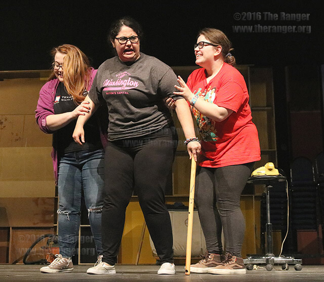 """Theater sophomores Lauren Hunt, Anastacia Islas and Grace Taylor rehearse for the theatrical production of """"Harvey"""" Monday inside McAllister. Opening night is March 31.  Photo by Brandon A. Edwards"""