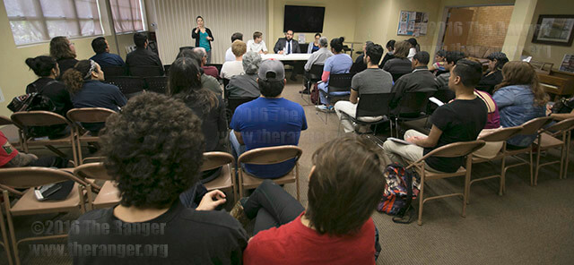 Three panelists explain the primary system and the importance of voting at Tuesday's Hot Potato lecture at the Methodist Student Center. Photo by Vincent Reyna