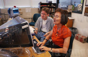 Marianne Odom edits J.C. Lewis' story for the 9/11 special issue Sept. 11, 2001. File