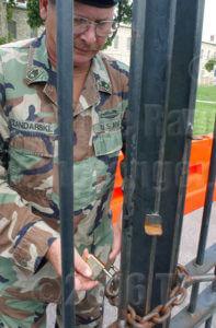 Closing the quadrangle gate at Fort Sam Houston on Sept.11, 2001.  File