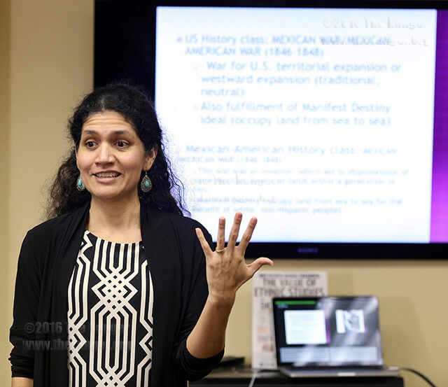 Lisa Ramos of Mexican-American studies details program history April 5 in the Methodist Student Center.  Photo by Vincent Reyna