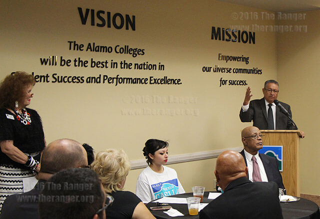 "District 5 trustee Roberto Zárate reflects on when Chancellor Bruce Leslie said it would be a five-year financial plan to get the Alamo Colleges on track Tuesday at Killen during a celebration of ""Affirming Momentum for Student Success."" The event doubled as a celebration for the May 7 election results. Zárate praised the chancellor's vision. He also credited Diane Snyder, vice chancellor of finance and administration, for her planning, giving the Alamo Colleges the flexibility to enact initiatives such as AlamoAdvise so quickly. He also announced the Alamo Colleges now has a AAA bond rating. The dinner was unannounced to the public. Photo by Kyle R. Cotton"