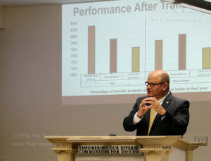 "President Robert Vela breaks down ""performance after transfer"" rates of students who have graduated or transferred from this college to a four-year university at the Student Success Committee meeting July 19 in Killen. Vela emphasized the data presented does not include private institutions. Photo by Brandon A. Edwards"