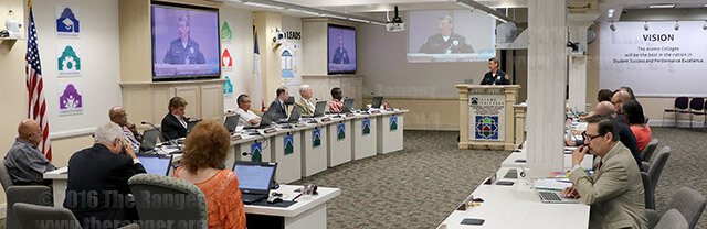 The board of trustees falls silent as Chief Don Adams gives a report on recent police related shootings in the United States during the Building, Grounds and Sites Committee meeting July 19 in Killen. The board congratulated the Alamo Colleges Police Department on its continued success of producing well-trained officers and minimizing criminal activity. Photo by Brandon A. Edwards
