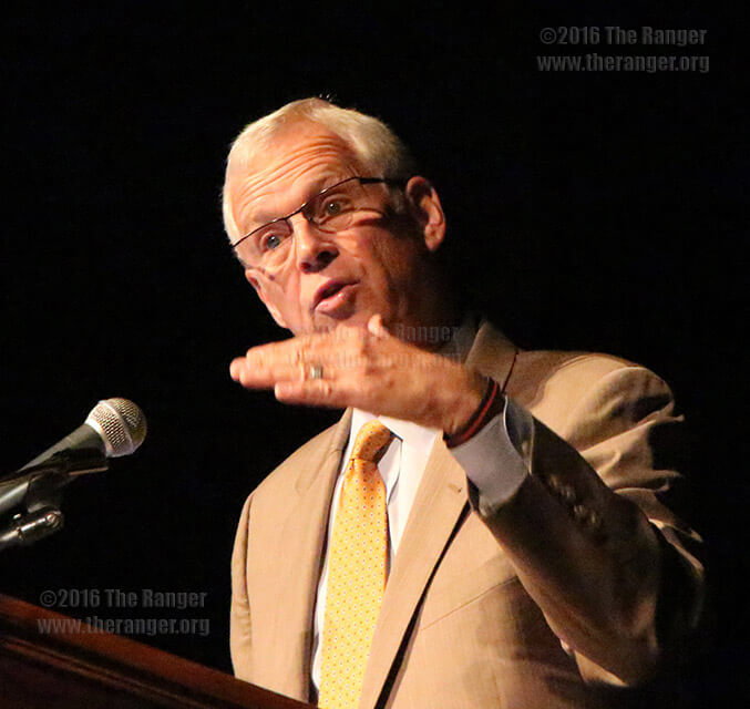 Chancellor Bruce Leslie speaks at this college's convocation Aug. 16 in the auditorium of MacAllister fine arts center. File