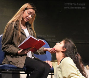 "Mina, played by drama freshman Stephanie Delgado, gives friendly advice to Lucy, played by drama sophomore Ailyn Duran in the upcoming ""Dracula"" production, who is indecisive about which man to choose for marriage Sept. 19 in McCreless theater.  Photo by Brandon A. Edwards"