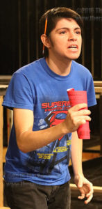 "Drama sophomore Luis Flores rehearses lines for the upcoming ""Dracula"" production Sept. 19 in McCreless theater. Luis Flores plays protagonist Johnathan Harker in the upcoming play. Opening night is Oct. 20 in McCreless.  Photo by Brandon A. Edwards"