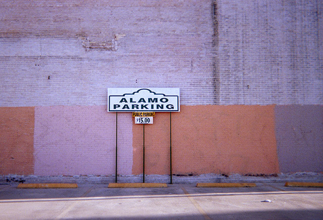 """Alamo Parking"" taken in 2016. Used with a plastic coca cola can camera that uses 35mm film.  Courtesy"