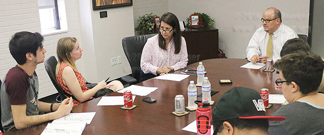 The Student Government Association had its Pepsi with the President meeting Sept. 8, at Fletcher with Dr. Lisa Alcorta, vice president of student success, and President Robert Vela. Attendees discussed when construction will be done on a memorial garden and bench  behind Chance. Vela also said he wants a new parking garage.  If the bond passes in May, another seven years of construction will take place.  Photo by Aly Miranda