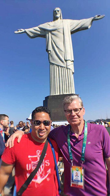 Taele and former ESPN personality Dan Patrick at Christ the Redeemer statue Courtesy