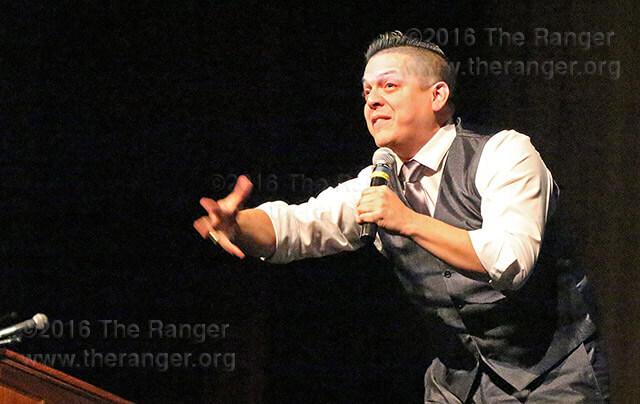 Roy Juarez Jr. speaking at the college's convocation Aug. 16. File