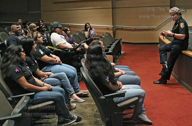 Students at Palo Alto gather Tuesday to hear Bexar County Sheriff Susan L. Pamerleau on Domestic Violence Awareness Month in performing arts.   Photo by Sasha D. Robinson