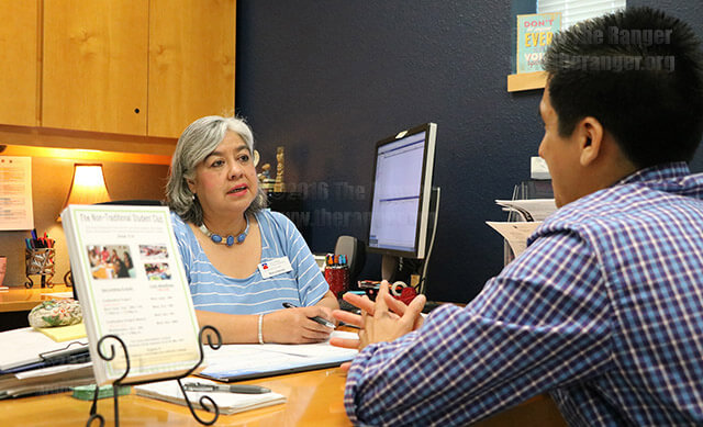 Nontraditional Student Adviser Maria Jimenez in session with nursing freshman Luis Oblitas Sept. 13 in the Empowerment Center. Jimenez founded the Nontraditional Students Club here at SAC in 2011 to help older students who have trouble adjusting to college.    Photo by Brandon A. Edwards