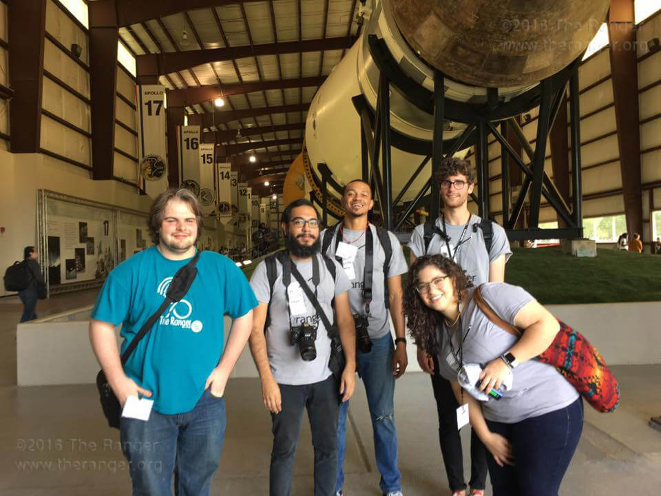 Ranger managing editor Kyle R. Cotton, editor Wally Perez, visuals editor Brandon A. Edwards, production assistant Zachary-Taylor Wright and calendar editor Christian Erevia pose inside Rocket Park Oct. 14 before the Texas Community College Journalism Association's live contests at NASA's Johnson Space Center in Houston. The annual convention included an awards ceremony at the University of Houston-Clear Lake.