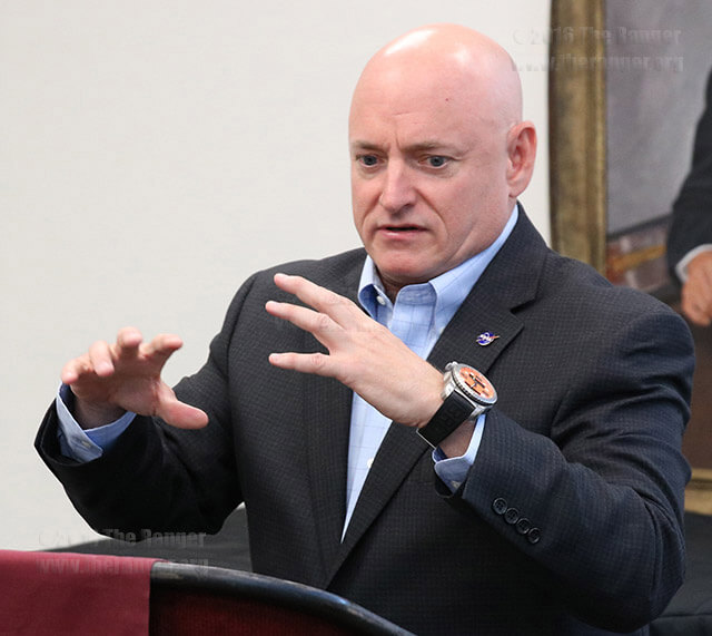 Scott Kelly, a retired astronaut, speaks to the press about the year he spent in space Sept. 15 in Room 126 of the Ruth Taylor Fine Arts Center at Trinity. Kelly spoke about his developed sympathy for the environment. He explained that his point of view on environmental concerns changed as he viewed the earth from space. Photos by Zachary-Taylor Wright