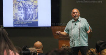 "Dr. David Montejano, author of ""Quixote Soldiers: A local History of the Chicano Movement, 1966-1981"" talks to students and faculty about how Mexican-Americans protested by marching in the streets against injustice in San Antonio in the 1960s and 1970s. He spoke on the impact of the Chicano movement on changes in the city on Oct. 12 in Ozuna Library at Palo Alto College.  Photo by Sasha D. Robinson"