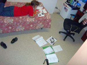 Alexandra Nelipa studying in her room at Villa Maria, a Catholic dorm for girls. Nelipa lived here from 2008-2012