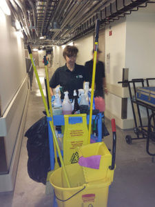 Alexandra Nelipa working as a janitor at The Tobin Center for Performing Arts Courtesy