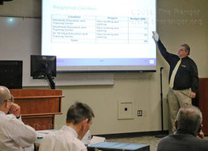John Strybos, Alamo Colleges associate vice chancellor of facilities, breaks down the possible monetary allotments for each future Alamo Colleges regional center Nov. 22 in Room 218 of nursing. Strybos said these were early figures; some buildings may take precedence and receive more funding. Photo by Brandon A. Edwards