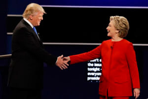 Republican presidential nominee Donald Trump and Democratic presidential nominee Hillary Clinton shake hands during the presidential debate at Hofstra University in Hempstead, N.Y., Monday, Sept. 26, 2016.  AccuNet/AP