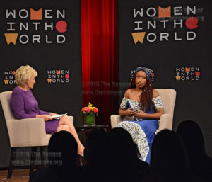 "Tina Brown, CEO and Founder of Women in the World, interviews Sandra Uwiringiyimana, activist and author of ""How Dare the Sun Rise,"" a book about her life story of being a genocide survivor at the Women in the World summit Nov. 14 at Pearl Stable. Uwiringiyimana said survived a rebel attack at a refugee camp in Burundi, losing her 6-year-old sister, and having to relocate to New York. Women in the World is an organization that features female activists, leaders and women who make a change and speak out on women's empowerment.  Photo by Deandra Gonzalez"